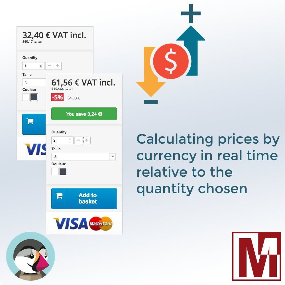 updated in real time price of the product by quantity for prestashop